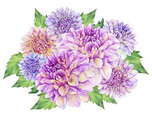Bouquet with purple Dahlia flower. Closeup dahlia flower. For wedding, invitation, Valentine's Day, Mother's Day. Watercolor hand drawn painting illustration isolated on white background.