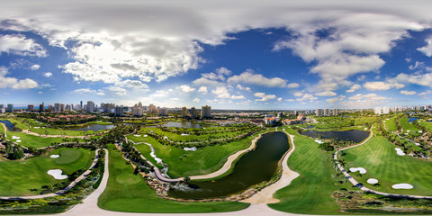 Aerial drone image spherical equirectangular panorama Aventura Golf Course Florida USA