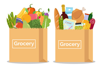 Grocery in a paper bag and vegetables and fruits in paper bag. Vector illustration. Flat design.