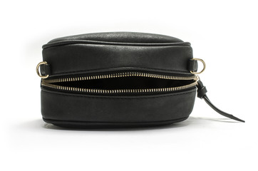 small black handbag with zipper isolated on white