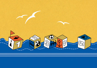 Floating toy cubes with the image of figures, signs of people, an anchor and a ball. White birds in the yellow sky.