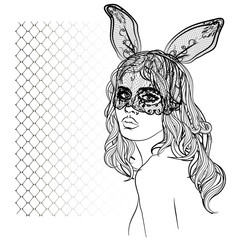 Fashion illustration with lady face and rabbit girl with a mask