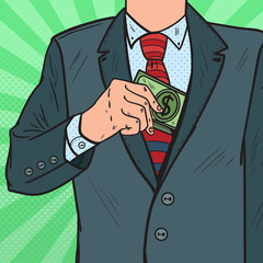 Pop Art Businessman Putting Money in Suit Jacket Pocket. Corruption and Bribery Concept. Vector illustration