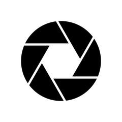 Camera objective icon. Shutter closeup simbol