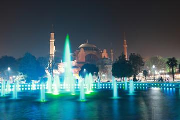 night view of the Hagia Sophia mosque