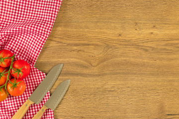 Italian food and raw ingredients on wooden background. Top view with space for your text.