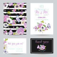 Wedding Invitation Template Set. Botanical Card with Hydrangea Flowers and Butterflies. Greeting Floral Postcard. Vector illustration