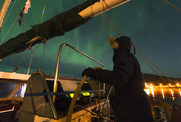 sailing boat,Northern lights,Tromso