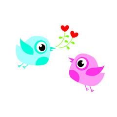 cute bird couple valentine greeting vector
