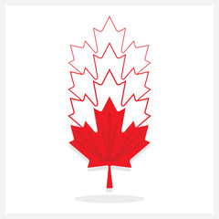 Abstract vertical faded away line red maple leaf emblems icons on white background
