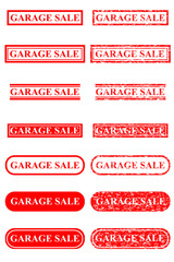 Set of Rubber Stamp Effect : Garage Sale, Isolated on White