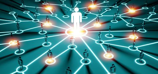 Leader connecting a group of people 3D rendering