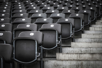 Empty seating at stadium