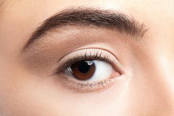 Beautiful young woman before applying eyelash extensions, closeup