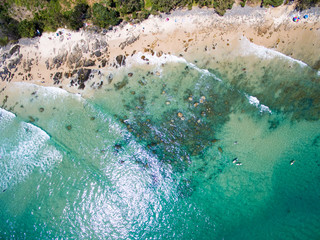 An aerial view of Wategoes Beach at Byron Bay in New South Wales, Australia