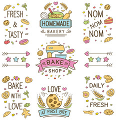 Colorful doodle bakery Logo and Ornament