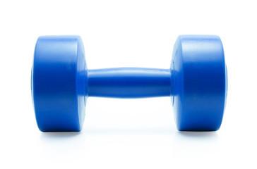 Blue dumbbell on a white background