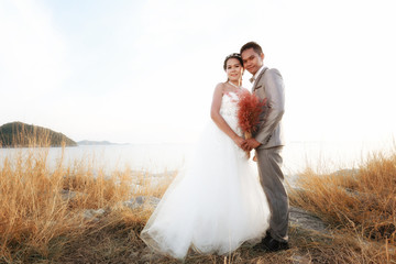 Asian love couples in pre wedding photography.
