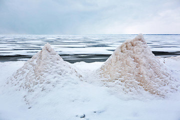 Winter landscape on the river. The Ob River, Siberia