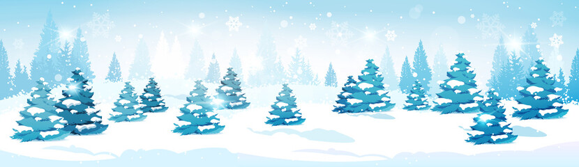 Winter Forest Landscape Snowy Pine Trees Horizontal Banner Flat Vector Illustration