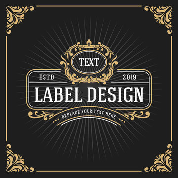 Vintage Luxury Monogram Banner Template Design