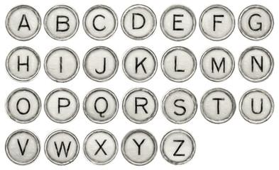 Alphabet set in typewriter keys