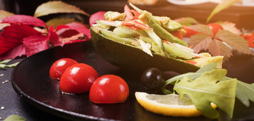 cooking recipe of elegant vegetables salad. healthy food. proper and delicious nutrition.