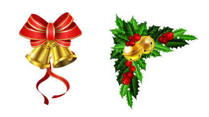Christmas decoration with bow set