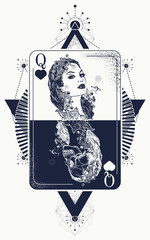 Queen tarot cards, success and defeat, casino, poker tattoo. Queen playing card tattoo and t-shirt design. Beautiful girl and queen skeleton, Gothic playing card. Symbol of gamblings