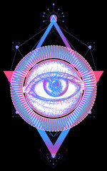 Magic all seeing eye color tattoo art vector. Freemason and spiritual symbols. Alchemy, medieval religion, occultism, spirituality and esoteric tattoo. Magic eye t-shirt design