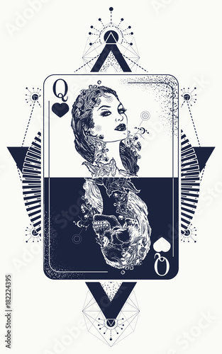 b59761e74 Queen tarot cards, success and defeat, casino, poker tattoo. Queen playing  card tattoo and t-shirt design. Beautiful girl and queen skeleton, Gothic  playing ...