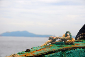Knot of rope on fishing boat