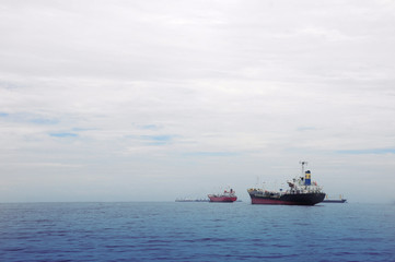 Seascape with two transport ships