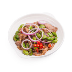 Stir Fried Pork with Shrimp Paste and bitter bean, Thai Food isolated on white background