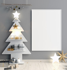 Modern minimalistic Christmas interior, Scandinavian style. 3D illustration. poster mock up