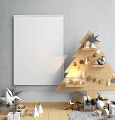 Modern minimalistic Christmas interior, Scandinavian style. 3D illustration. poster mock up