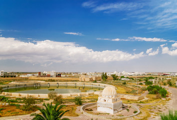 Aghlabid Basins, reservoir outside city walls. Panorama view from above. Kairouan, Tunisia