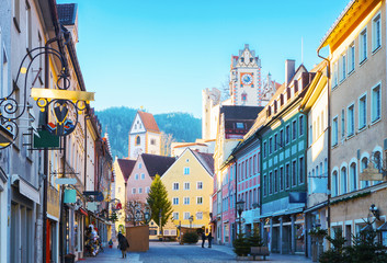 Old part of the city of Fussen  in beautiful sunny morning  after New Year's Eve,  Bavaria, Germany