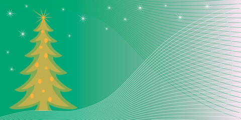 Greeting card with Christmas tree on a green gradient