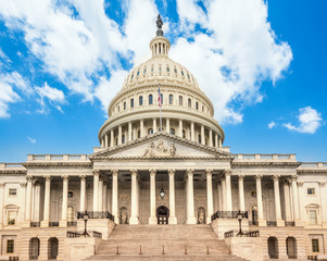 United States Capitol Building in Washington DC - East Facade of the famous US landmark.
