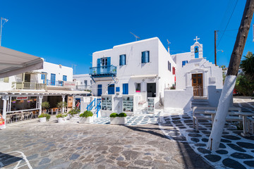Mykonos, Greece (September 2017). Restaurants and shops on the narrow streets of the island of Mykonos in Greece.
