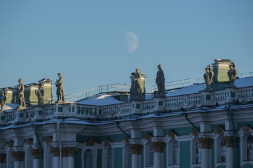 The moon above the Hermitage museum building