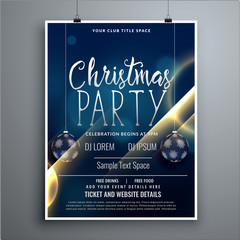 christmas poster party flyer design template with hanging balls