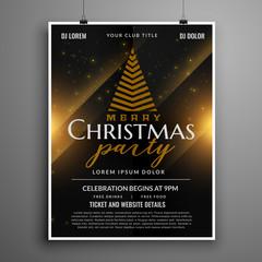 dark christmas celebration card invitation flyer template design
