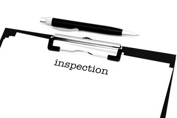 Inspection catchword on clipboard