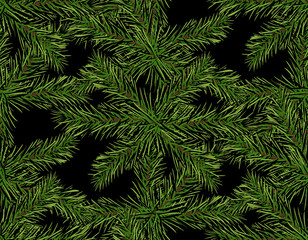 New Year Christmas. Green tree branch close-up on a dark background. Seamless pattern. Isolated Illustration