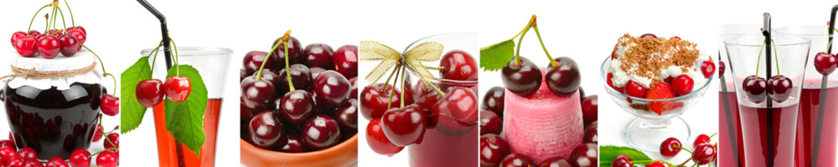 Juicy cherries,, juice and jam isolated on white background. Panoramic collage.