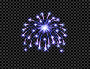 Festive purple firework salute burst, flash on transparent checkered background. Isolated illustration