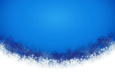 Abstract blue background with snowflake. Christmas and new year card style background. Vector Illustration.