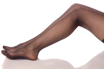Female legs black stockings tights
